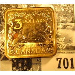 """2006 Canada $3 """"Golden"""" Beaver 92.5% Silver with gold plating, Square Coin with a catalog value $225"""