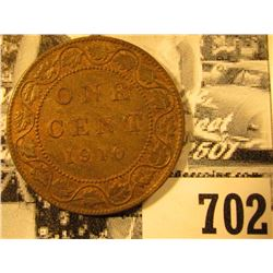 1910 Canada Large Cent, Red-Brown AU.