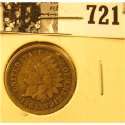 1863 U.S. Indian Head Cent, Very Good.