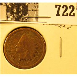 """1864 """"L"""" U.S. Indian Head Cent, cleaned, Good."""