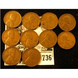 (10) 1931 D Lincoln Cents. Fine-VF.