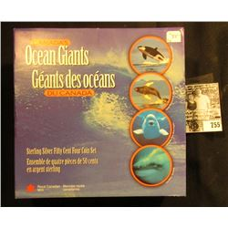 """1998 """"Canada's Ocean Giants Sterling Silver Fifty Cent Four Coin Set in original box of issue."""