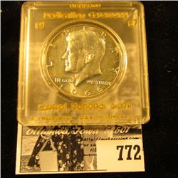 """1966 Brilliant Uncirculated Kennedy Half Dollar in a Snap-tight case labeled with gold lettering """"Me"""