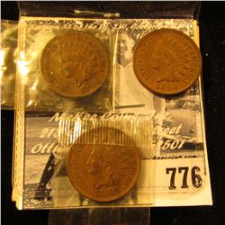 1890, 1900, & 1901 Indian Head Cents, EF-AU.