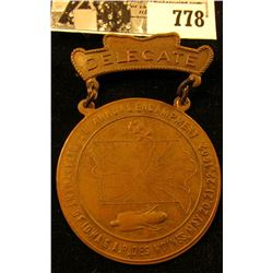 """""""28 Annual Encampment/Department of Iowa G.A.R. Des Moines, May 20, 21, 22, 1902."""", """"Delegate"""" Medal"""