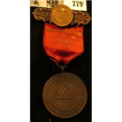 """Badge with High grade Indian Cent, ribbon, & hangar """"Oct. 1906"""", """"Grand Chapter R.A.M. Iowa"""", """"Signe"""