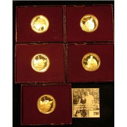 (5) 1982 S U.S. George Washington Commemorative Silver Half-Dollars. All in original boxes as issued