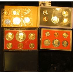 1959, 70 S, 77 S, & 80 S U.S. Proof Sets. All in original holders or envelopes.