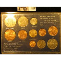 """Type Set of BU """"Britains First Issue of Decimal Coins"""" & """"Great Britains Last Complete Set of Coinag"""