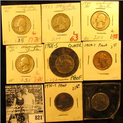 1934P AG, 35P VG, 40P AG, 41S VF, 68S Proof, 69S Proof, 70S Proof, & 79D BU Washington Quarters.