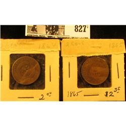 1864 & 1865 U.S. Civil War Two Cent Pieces, AG-G+.
