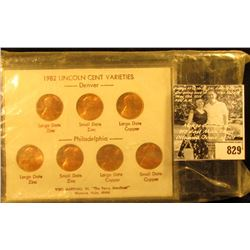 1982 Seven-Piece Variety Lincoln Cent Set, All BU and stored in an attractive holder.