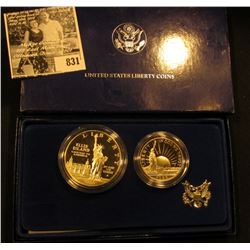 1986 S Statue of Liberty 2-Piece U.S. Proof Set, Half-Dollar & Dollar, in original box with literatu