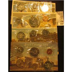 1975, 78, 79, & 80 Canada Six-Piece Uncirculated Coin Sets in original cellophane and envelopes.