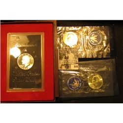 1972 S Proof Eisenhower Silver Dollar in original brown box; & 1971 S & 72 S Uncirculated Silver Eis