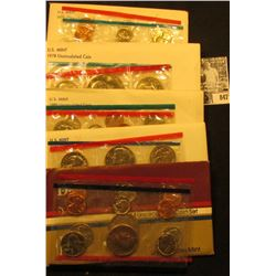 1976, 78. 80, 81, & 84 U.S. Mint Sets. Original as issued. Red Book $40.00. (face value $19.10).