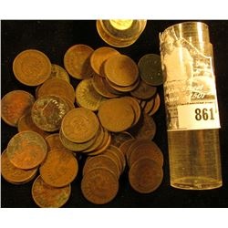 Roll of (50) Old Indian Head Cents dating back to 1863 in a plastic tube.