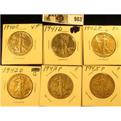 1940S VF, 41D VF, 42P AU, 42D Good, 43P Fine, & 45P Fine Walking Liberty Half Dollars.
