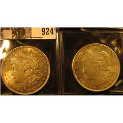 Pair of 1921 P U.S. Morgan Silver Dollars AU-BU.