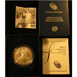 2017 W American Eagle One Ounce Silver Coin in orginal U.S. Mint issued box with literature. Brillia