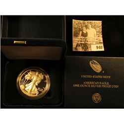 2015 W Proof Silver American Eagle One Ounce Silver Coin in orginal U.S. Mint issued box, no literat