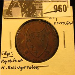 960 . 1792 Norfolk & Norwich Half Penny Condor Token, EF, Slight corrosion.