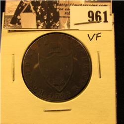 "961 . 1792 ""Rochdale Half Penny (John Kershaw) edge: ""Payable at warehouse of John Kershaw"", VF."