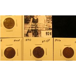 974 . 1857 Flying Eagle, VF-EF pitted; 1878 Good, 1890 VF-EF, & 1906 VF Indian Head Cents.