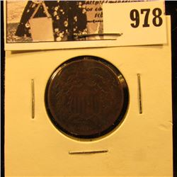 978 . 1865 Civil War Two-Cent Piece, Fine.