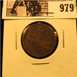979 . 1865 Civil War Two-Cent Piece, Very Fine.