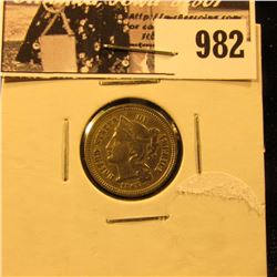 982 . 1865 U.S. Civil War Three-Cent Nickel, EF.