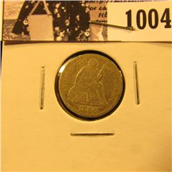 1004 . 1886 P Liberty Seated Dime, in about Fine.