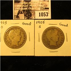 1053 . 1905 O & 1905 S U.S. Barber Half Dollars, Good.