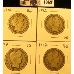 1069 . (4) 1912 P U.S. Barber Half Dollars. All Very Good.