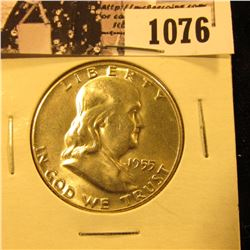 1076 . 1955 P Franklin Half Dollar, Brilliant Uncirculated.