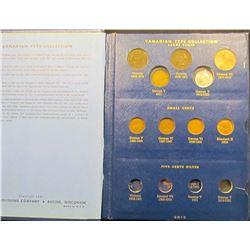 1127 . Canadian Type Set Book With Coins.  It Includes 1859, 1876-H, & 1907 Large Cents; (4) varieti