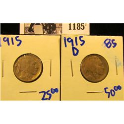 1185 . 1915 P And 1915-D Buffalo Nickels
