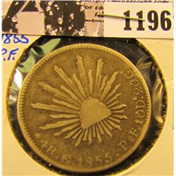 1196 . 1855-P.F. Mexican Silver Four Reales