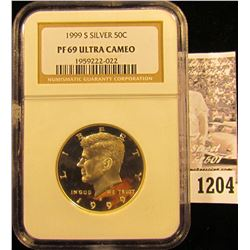 1204 . 1999-S Silver Kennedy Half Dollar Graded Proof 69 Ultra Cameo By NGC