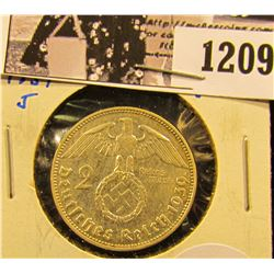 1209 . Beautiful High Grade Silver 2 Mark Coin From Germany.  Von Hindenburg Is On The Front And The
