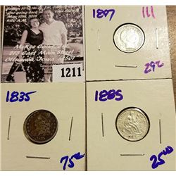 1211 . 1885 P Seated Dime, 1835 Holed And Plugged Bust Dime, & 1897 P Barber Dime