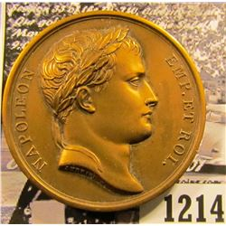 """1214 . French Medal With Napolean Bonaparte On The Front.  On The Reverse It Says """"Entered Moscow Se"""