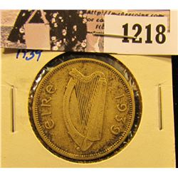 1218 . 1939 Ireland Silver One Florin Two Shillings Coin