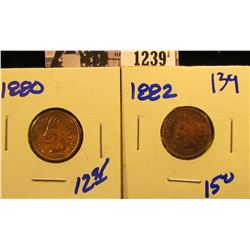 1239 . 1880 And 1882 Indian Head Pennies