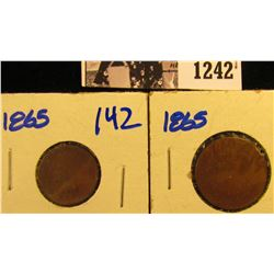 1242 . 1865 Two Cent Piece And 1865 Indian Head Penny