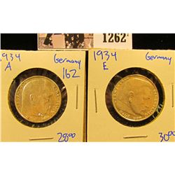 1262 . 1934-A And 1934-E Silver German 2 Mark Coins With Swastikas And Eagles On The Reverse