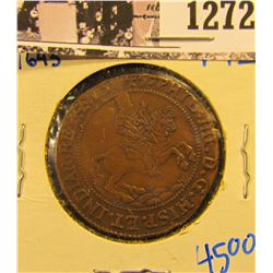 1272 . 1643 Spanish Jetton Coin.  On The Front Is A Conquistador On Horseback