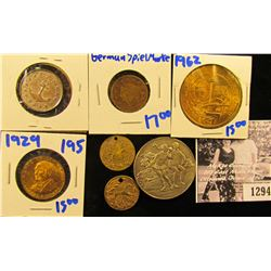 1294 . Two Tokens With Horses Out To Pasture! This lot Includes a German Spiel Marke with With child