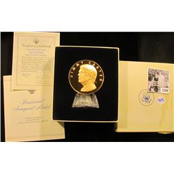 """1306 . 1977 Proof Bronze Jimmy Carter inaugural medal with stand and original box. 3"""" diameter."""