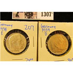 1307 . Germany 1938-E And 1938-D Silver Two Mark Coins. Both coins have swastikas and Eagles, which